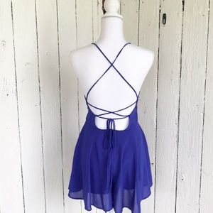 Romper Blue Backless by Lush